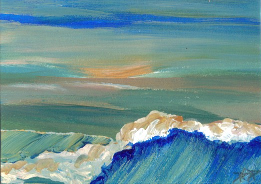 Sunset Waves - Original painting - Slightly larger than a credit card