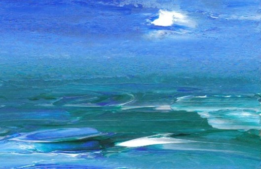 Deep Sea by Cricket Diane C Phillips - jan25-08 painting 3.5inx2.5in acrylic