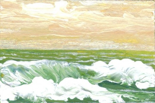 Call of the Ocean - 3.5″ x 2.5″ Acrylic Painting Original by Cricket Diane C Phillips - CricketHouseStudios