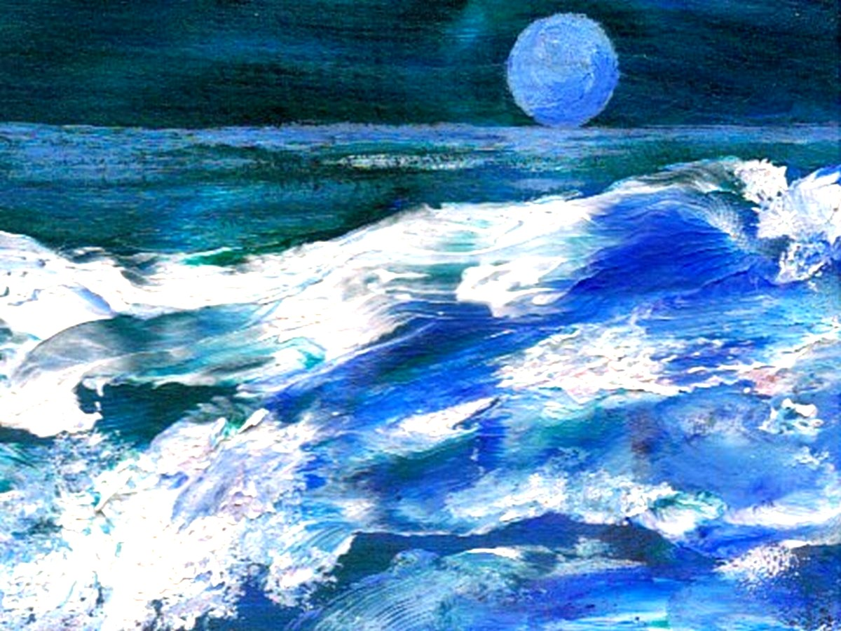 Moon Song – Ocean Waves Painting – Night Scene Reflected ...