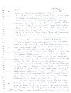 hand-written original of writing recall and visualization games pg 2 by cricketdiane - 2008