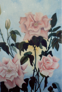 Summer roses - Oil Painting by Cricket Diane C Phillips - 2008 - 1989