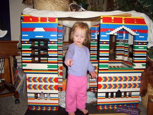 cricketdiane - Jasmine in the Lego playhouse built Christmas 2008 - art of Cricket Diane C Phillips