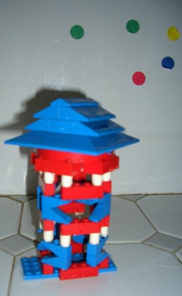 Amanda's little Lego house - interesting building methods using Legos - 2006