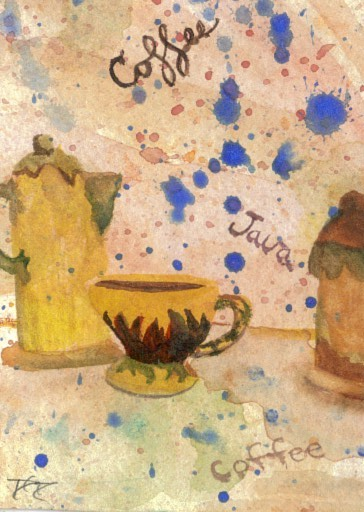"cricketdiane - original watercolor 2.5"" x 3.5"" - coffee themed collectible art cards - 2007 - ""Coffee Set"" by Cricket Diane C Phillips"