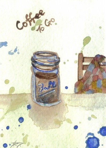 "cricketdiane - original watercolor 2.5"" x 3.5"" coffee themed collectible art cards by Cricket Diane C Phillips - ""Coffee To Go"" - 2007 -"