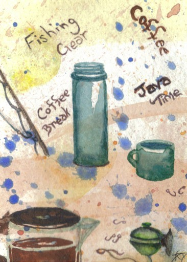 "cricketdiane - original watercolor 2.5"" x 3.5"" coffee themed collectible art cards by Cricket Diane C Phillips - ""Fishing Gear"" - 2007 -"