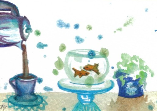 "cricketdiane - collectible art cards - original watercolor by Cricket Diane C Phillips - 2007 - ""Having A Little Coffee With My Goldfish"" - folksy -"