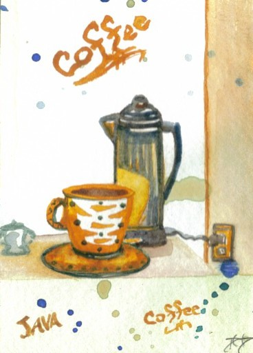 "cricketdiane - original watercolor collectible coffee themed art card by Cricket Diane C Phillips - 2007 - folksy folk art - ""Percolatin' Some Coffee"""