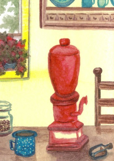 "cricketdiane - collectible original watercolors 2.5"" x 3.5"" - original coffee themed collectible art trading cards - 2007 by Cricket Diane C Phillips - ""Farmhouse Morning"""