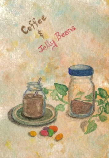 "cricketdiane - coffee themed original watercolor collectible art trading cards - 2007 - ""Coffee and Jelly Beans Breakfast"""
