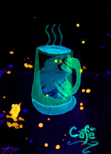"cricketdiane - original watercolors with digital manipulations 2.5"" x 3.5"" by Cricket Diane C Phillips - coffee themed art trading cards - collectibles - 2007 - pop art - ""Morning Coffee"""