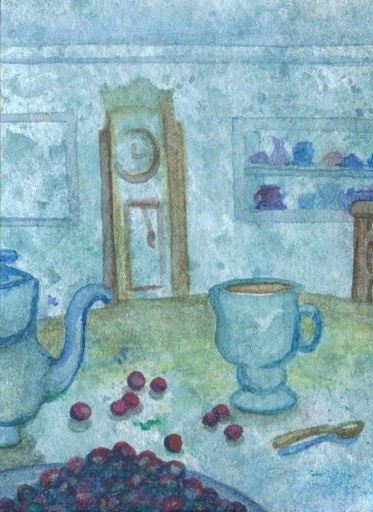 "cricketdiane - original watercolor 2.5"" x 3.5"" - coffee themed collectible art trading cards - ""Coffee Snack"" - 2007 by Cricket Diane C Phillips"