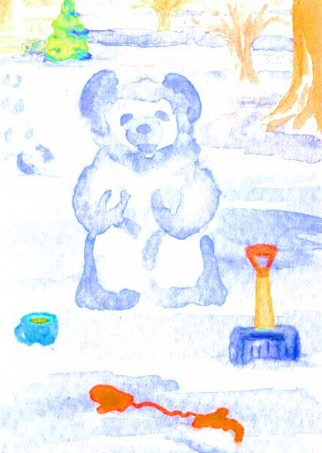 "cricketdiane - original watercolor collectible art trading cards 2.5"" x 3.5"" - coffee themed art trading cards 2007 by Cricket Diane C Phillips - ""Building Snow Bear With My Morning Coffee"""