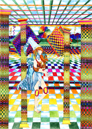 "cricketdiane - original art - 18"" x 24"" ink on vellum - ""In The Halls of the Summer Princess"" 2004"