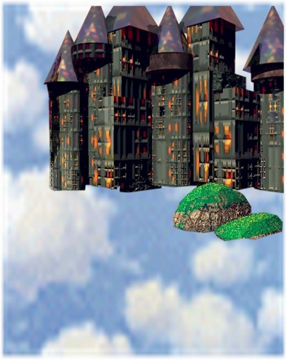 cricketdiane - Castle in the Sky - 2006 - computer art using Bryce and digital collage