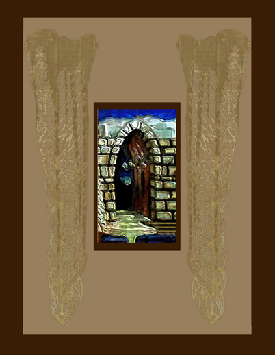 cricketdiane - Stone Hallway - the Dragon's Lair - digital collage using two of my original art works to make a new one - 2007