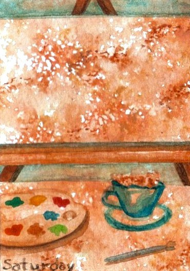 "cricketdiane - original watercolor 2.5"" x 3.5"" coffee themed art trading cards by Cricket Diane C Phillips - 2007 - days of the week - Saturday"