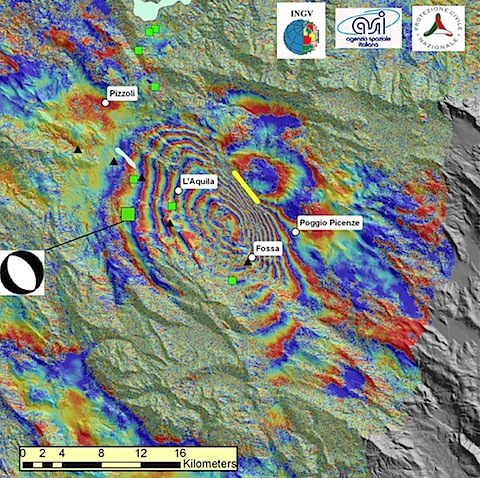 Eurostat dual image showing L'Aquila, Abruzzo, Italy earthquake changes