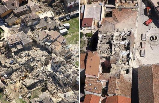 from Times Online aerial photos - L'Aquila Italy earthquake