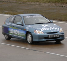 Still going: Tests of a Honda Insight equipped with a novel type of lead-acid battery showed that the hybrid vehicle can run more than 100,000 miles using the new technology.