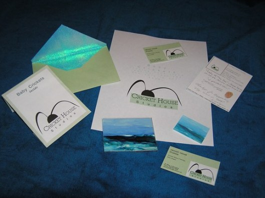 The way I packaged my ocean art paintings trading cards miniatures sold in 2007 - Baby Crickets Inside - handcrafted