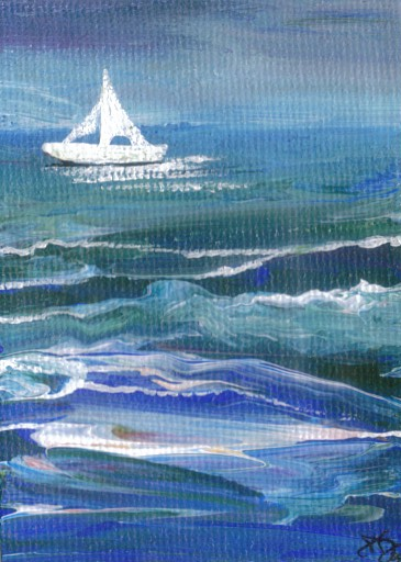Cricket Diane C Phillips - Ships of the Imagination - 5 - 2009 - New Series of ocean waves paintings with boats, ships and sailboats - Sea Paintings by cricketdiane - 2009
