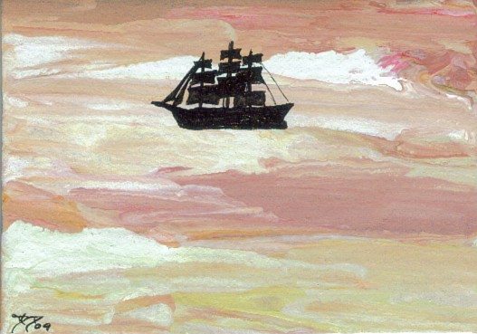 Cricket Diane C Phillips - Ships of the Imagination - 6 -2009 - New Series of ocean waves paintings with boats, ships and sailboats - Sea Paintings by cricketdiane - 2009