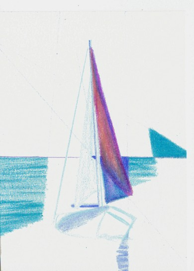 Cricket Diane C Phillips - How To Paint an Abstract Ocean Sailboat Painting - 1 - from 2007