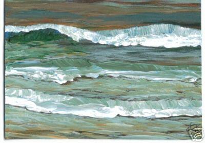 Cricket Diane C Phillips - ocean waves painting - ocean art card - 2009, 2007 - original acrylic ocean waves painting