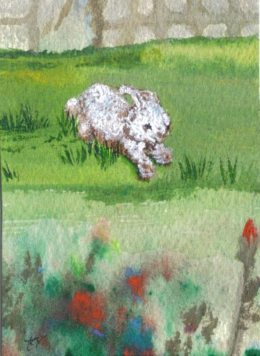 "Cricket Diane C Phillips - original watercolor and acrylic miniature painting / trading card - 2.5 inches by 3.5 inches - on EBay today - ""Bunny Hop Through the Garden"" - 2007, 2009"