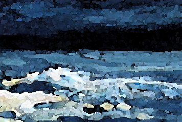 cricketdiane09 - Night Sea - 2007 art card - original acrylic ocean painting with computer effects added