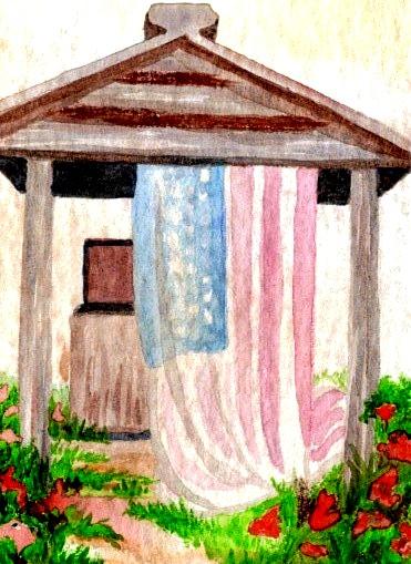 "Original Cricket Diane C Phillips watercolor art trading card - ""American Country"" 2007"