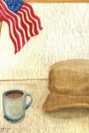 CricketDiane09 - Patriotic Art - 7-29-07 - All American Coffee - cdcp07 watercolor 2.5 in x 3.5 in - 2007