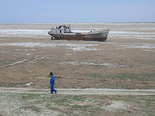 Ship stranded by the retreat of the Aral Sea - from wikipedia entry - Desertification
