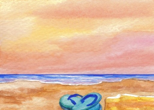 "CricketDiane ocean waves painting 2009, 2007 - ""Gone Swimming"" created in watercolor beach surf and sunset - 2.5"" x 3.5"""