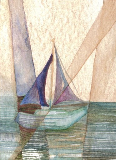 6-30-07 CricketDiane 2009 - caveat 3 - cdcp07 watercolor on watercolor paper ocean sea paintings nautical abstract sailboat