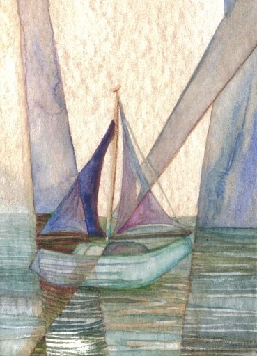 """CricketDiane 2009 - caveat (title) - 2.5"""" x 3.5"""" Baby Crickets Ocean Nautical Sailboat Abstract watercolor 2009, 2007 - how to paint ocean sea paintings"""