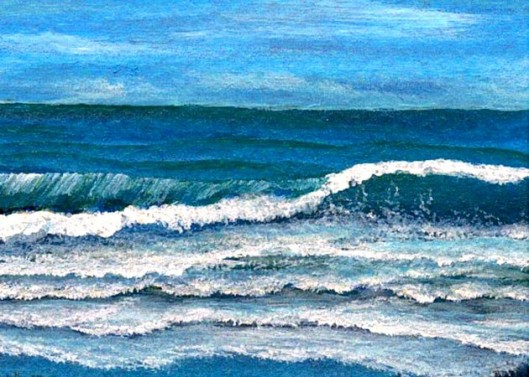 "cricketdiane 2009 - sea glory - ocean waves painting art trading card - Baby Crickets Ocean Series - 2.5"" x 3.5"" - original painted in acrylic 2007 - 2009"