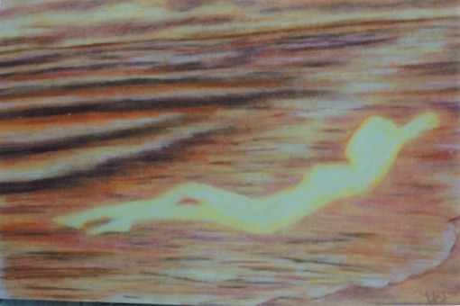 "CricketDiane ""painting"" of the ocean waves at sunset as my spirit is renewed - 9"" x 12"" (sold) - created in pastels on art paper, 2009, 1991 - Title:  Serenity"