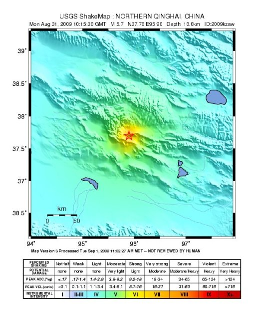 USGS ShakeMap - Monday, August 31, 2009 - Qinghai, China