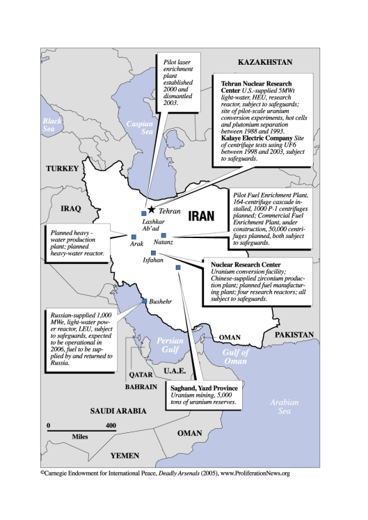 Iran Deadly Arsenals 2005 Map from Carnegie Endowment for International Peace