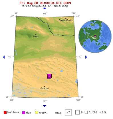 Friday, August 28, 2009 - (5 earthquakes on this map from the same day) - Northern Qinghai, China near Da Qaidam