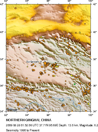 Seismicity from 1990 to 08-28-09 Northern Qinghai, China (near Da Qaidam)