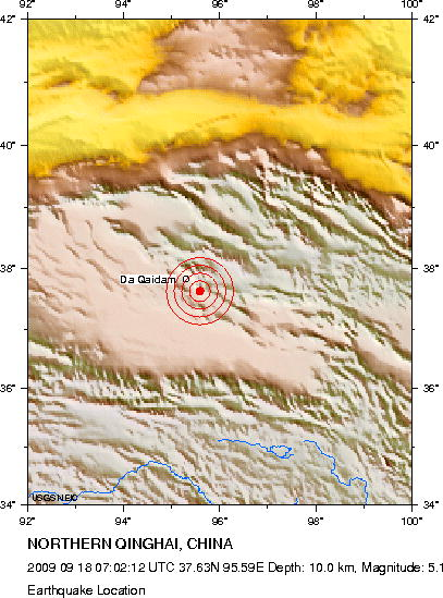 09-18-09 Earthquake on the same spot - 5.1 M, depth 10km