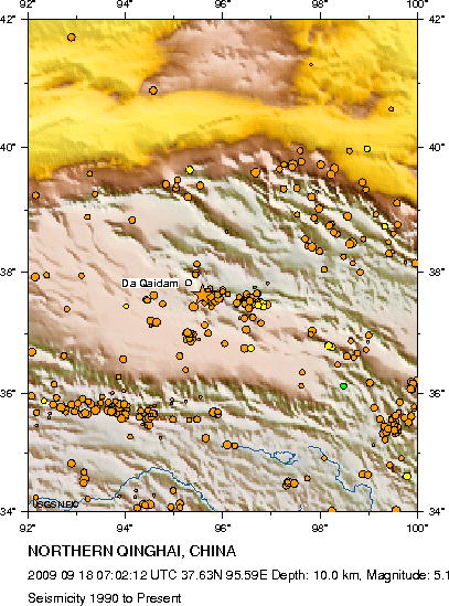 Earthquakes in that area Qinghai, China - 1990 to present - as of 09-18-09