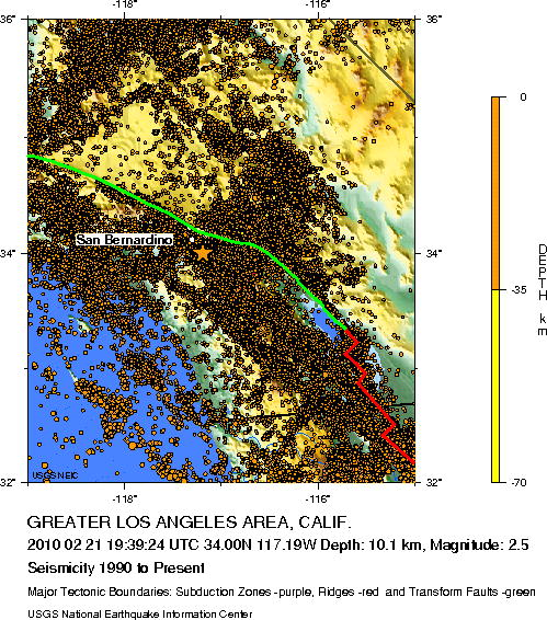 USGS seismicity Los Angeles 2990 - present