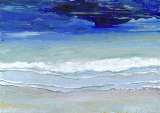 2-14-08 cricketdiane - Wading Surf - cdcp08 acrylic painting - pocket art Ocean Baby Crickets from 2008