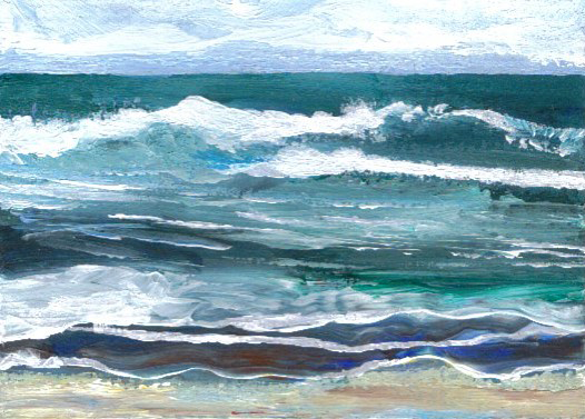 2-17-08 aceo - Cricket's Sea - cdcp08 acrylic - another Baby Cricket from my mind's images of the ocean