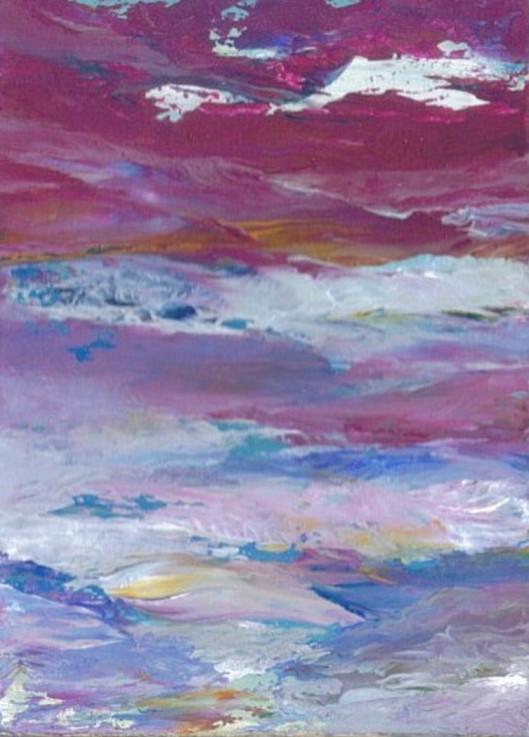 2-26-08 cricketdiane - magnificent sea - cdcp08 acrylic painting - artcard pocket art, Baby Crickets Ocean series 2008